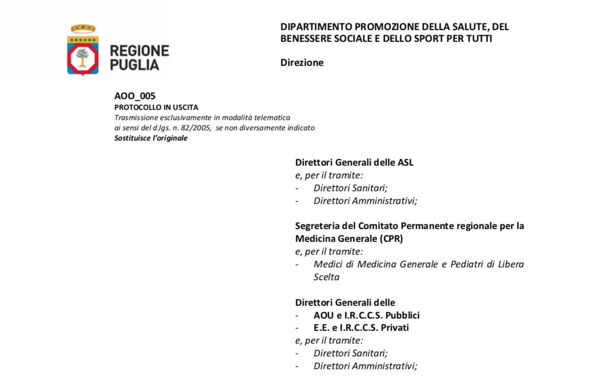 Regione Puglia. Revoca restrizioni di accesso per ISF. Preferibilmente da remoto