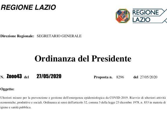 Lazio. Attività ISF secondo linee guida Conferenza delle Regioni