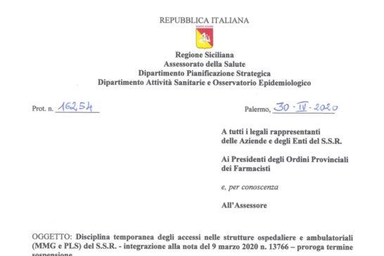 Sicilia. Attività ISF prorogata al 24 maggio