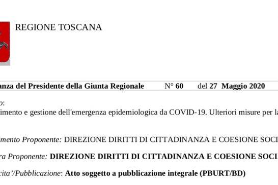 Toscana. Attività ISF dal 27 maggio secondo linee guida Conferenza delle Regioni