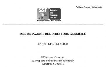 Ospedali AUSL Toscana Sud Est. Accesso ISF con mascherina, guanti, igienizzazione mani