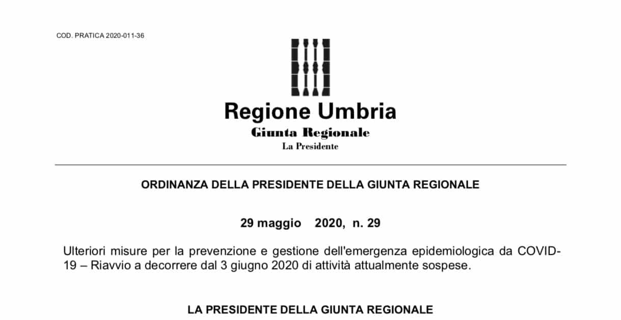 Regione Umbria. Ripresa attività ISF secondo linee guida