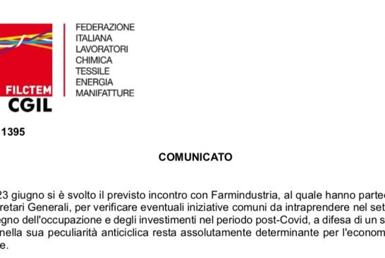 Filctem CGIL Comunicato incontro Farmindustria.