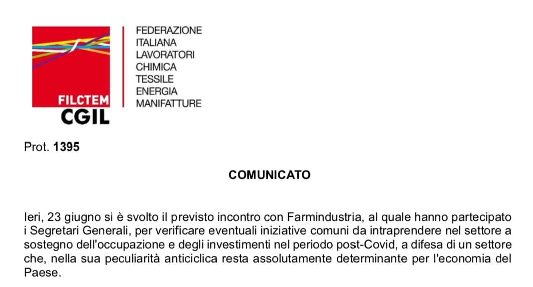 """Filctem CGIL Comunicato incontro Farmindustria. """"ISF grande confusione normativa"""". Farmindustria: i medici apprezzano e si stanno abituando all'ISF da remoto"""