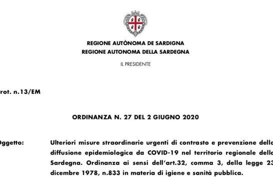 Sardegna. Ripresa attività secondo linee guida