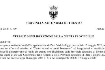 Provincia Autonoma di Trento. Nuova delibera. Attività ISF dal 15 giugno secondo linee guida