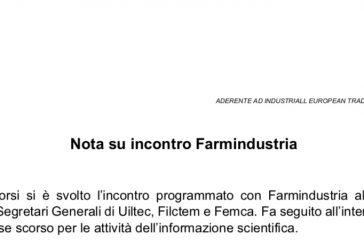 UILTEC incontro con Farmindustria. ISF in una babele di vincoli. Riattivare il tavolo al MiSE