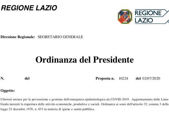 Regione Lazio. Attività ISF di persona ammessa previo appuntamento