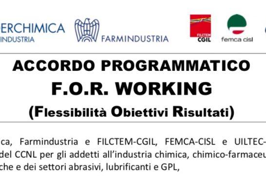 Comunicato Sindacati Farmindustria. Rendere disponibile il F.O.R. WORKING, modalità evoluta di Smart Working