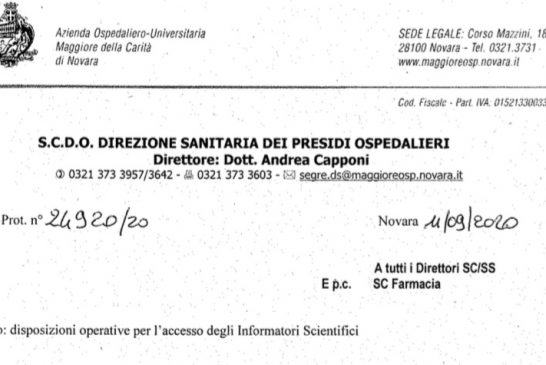 AOU Novara. Norme per l'accesso degli ISF