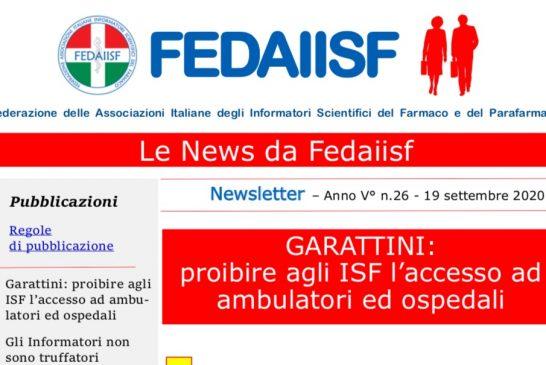 Newsletter Fedaiisf. In distribuzione agli associati il n. 26 del 19 settembre 2020