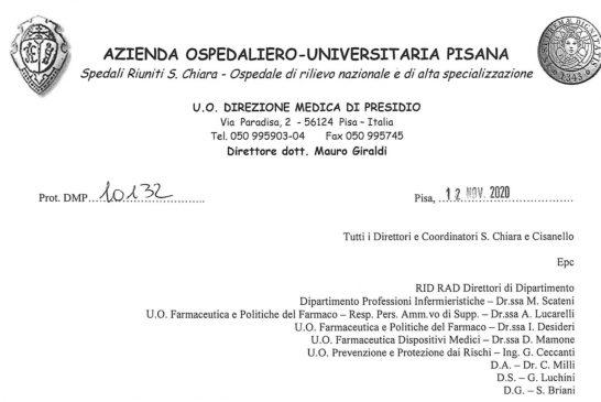 AOU Pisa. Accesso ISF regolamentato previo tampone per chi proviene dalle zone rosse e autodichiarazione per gli altri