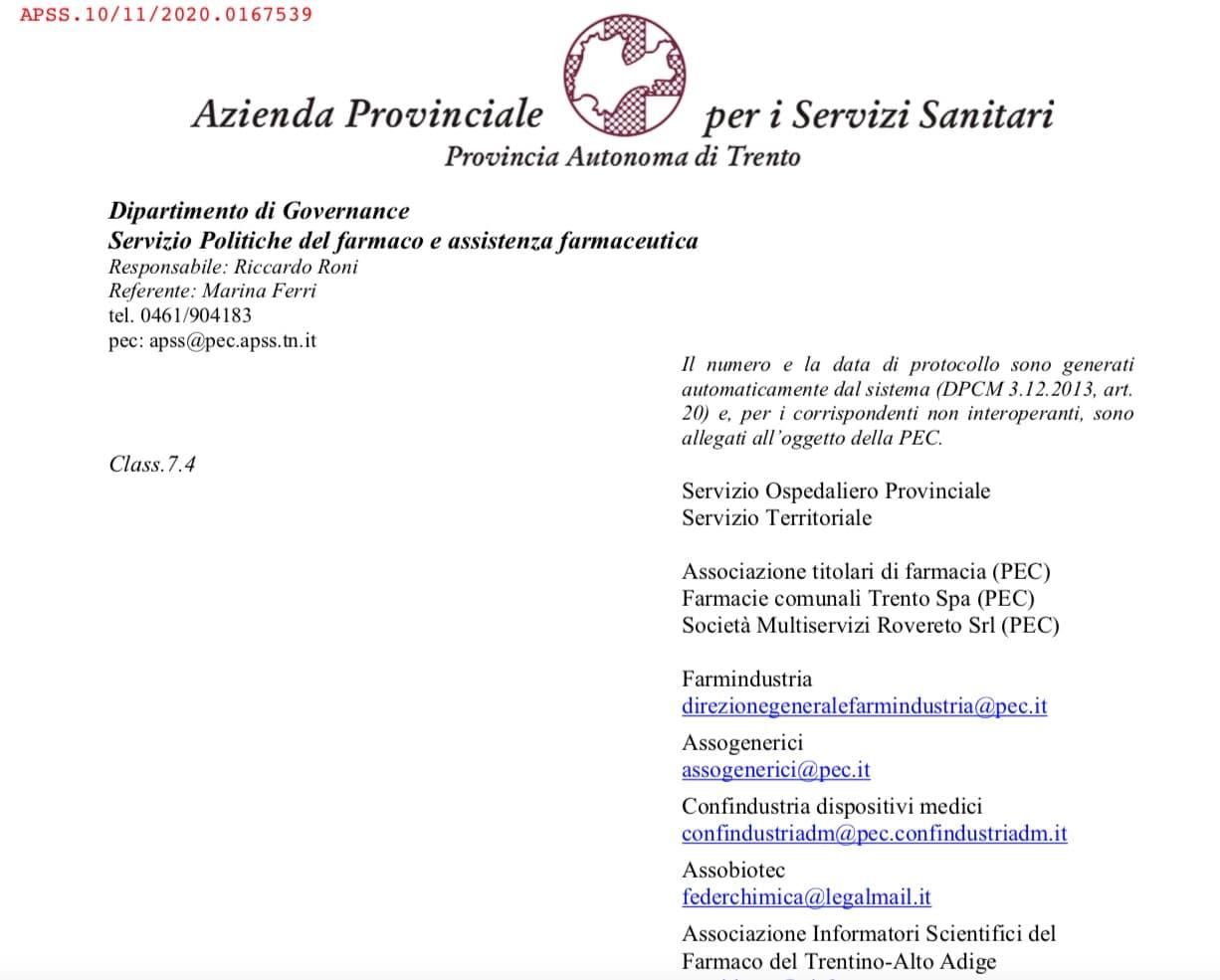 APSS Trento. Attività ISF sospesa fino al 31 gennaio 2021