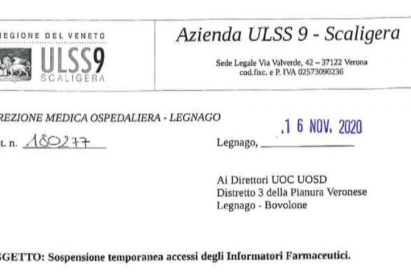 Verona. ULSS 9 Scaligera. Ospedali e ambulatori Legnago e Bovolone. Divieto accesso ISF